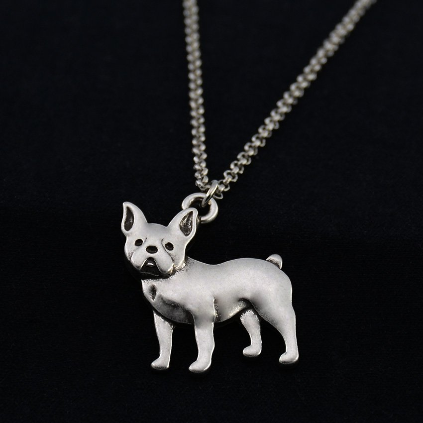 Vintage Silver French Bull Dog Necklace Dog Necklace Chain Box Women Men Fashion
