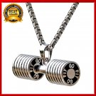 HOT Men Stainless Steel Dumbbell Charm Pendant Necklace Fitness Statement Gifts
