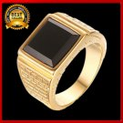 Black Titanium steel Golden Ring For Men Factory Price size 7-12