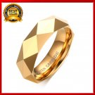 Men's Rhombic Cut Tungsten Carbide Promise Wedding Bands Ring Gold-color Rings