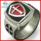 Size 7-15 Stainless Steel Titanium Red Armor Shield Knight Templar Crusader Ring