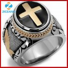 Size 7-15 Vintage Silver Gold Black Two-Tone Holy Cross Signet Ring Jesus