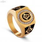 Stainless steel freemason ring wholesale ring Men Gold Masonic ring Size 7-13