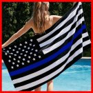90*150cm USA Police Flags Thin American National Banner White And Blue Stars