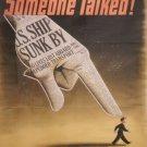 Wwii Someone Talked War Propoganda Poster Art Print 32x24