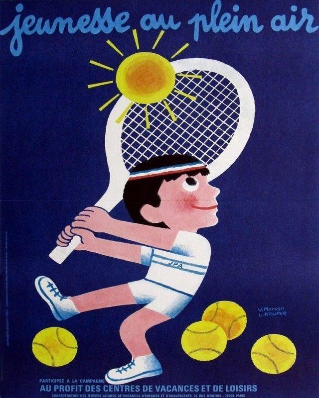 Vintage French Tennis Poster Print 32x24