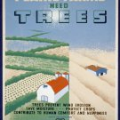 Plains Farms Needs Trees Wpa Poster Art Print 32x24