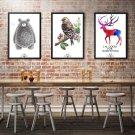 Cute Animal Minimalist Art Canvas Poster Print Modern Home Office Decor 32x24