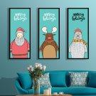 Cute Animals Minimalist Art Canvas Poster Picture Santa Claus Deer Bear 32x24