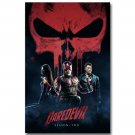 Daredevil Superheroes Skull Season 2 Fabric Poster 32x24