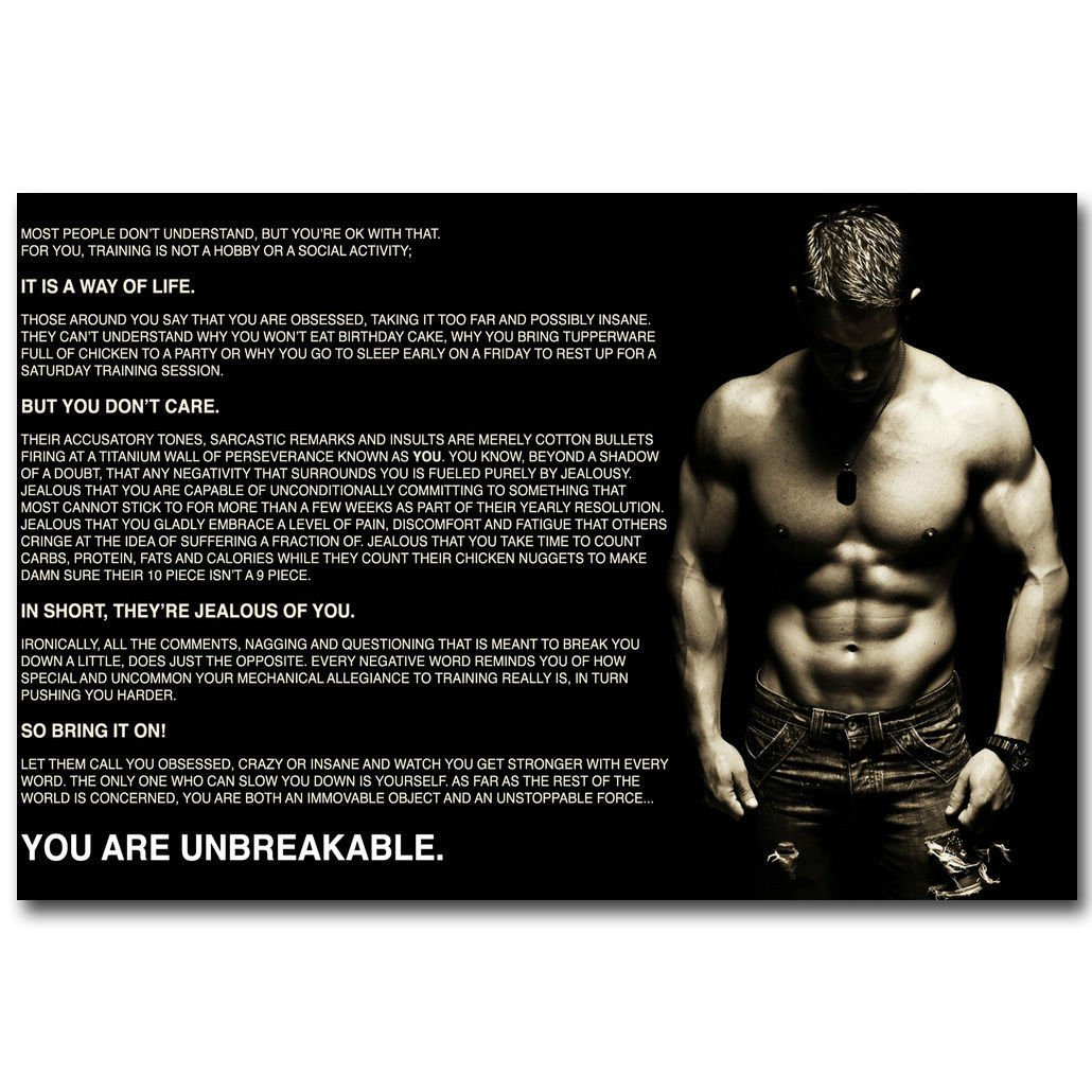 Bodybuilding Inspirational Quotes Pictures: Bodybuilding Fitness Motivational Reading Quotes Poster 32x24