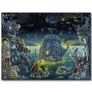 Fantasy Dark Psychedelic Skeleton Death Ocean Sea Fish Poster 32x24