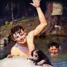 Norman Rockwell Skinny Dipping Fine Art Print 32x24