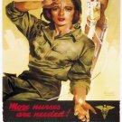 Wwii Us Army Nurse Corps War Propoganda Poster Art Print 32x24