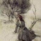 Arthur Rackham Girl Beside A Stream Fine Art Print 32x24