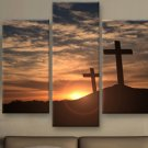 Large Framed Three Crosses Christian Easter Canvas Print Wall Art Home Decor