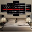 Large Framed Firefighters American Flag with Red Line Canvas Print Wall Art Home