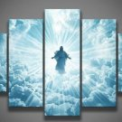 Large Framed Jesus 2nd Coming Cloud Christian Canvas Print Wall Art Home 5 Piece