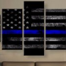 Large Unframed American Flag Police Thin Blue Line Canvas Print Home Decor Wall