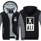 Muhammad Ali Hoodie Zip up Jacket Coat Winter Warm Boxing Black and Gray