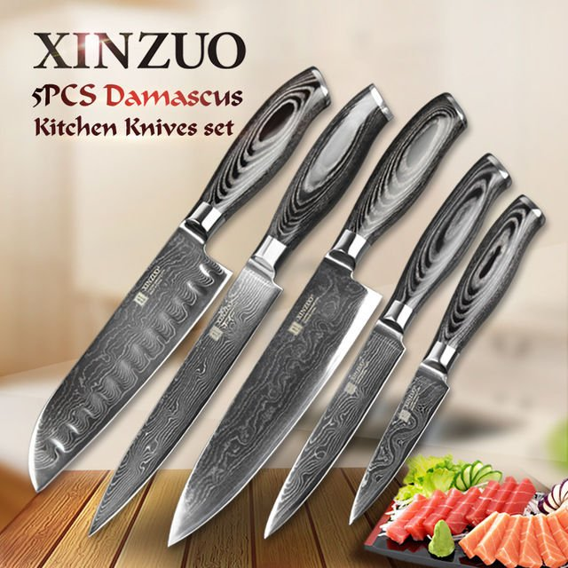 5 pc Kitchen Knife Set Japanese Damascus Steel VG10 73 Layers Wood Handle Chef