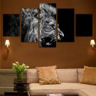 Large Framed Black and White Lion Roaring Canvas Print Wall Art Home 5 Piece