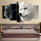 Large Framed Black White Wolves Nature Wall Art Print Home Decor 5 Piece