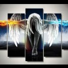 Large Framed Angels and Demons Canvas Print Home Decor Wall Art Five Piece