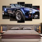 Large Framed Ford Cobra Mustang Car Blue Canvas Home Decor 5 pc