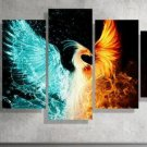 Large Framed Phoenix Water and Fire Canvas Print Home Decor Wall Art Five Piece