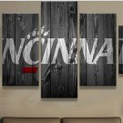 Large Framed Cincinnati Bearcats College Barnwood Style Canvas Home Decor 5 pc