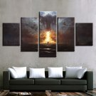 Large Framed Dragon Breathing Fire Fantasy Wall Canvas Art Home Decor Five Piece