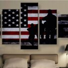 Large Framed American soldiers American Flag wall art canvas Print Home Decor