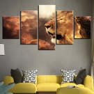 Large Framed Lion Majestic Fantasy Canvas Art Home Decor Five Piece
