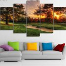 Large Framed Golf Course Sunset Green Canvas Print Wall Art Home Decor
