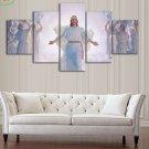 Large Framed Jesus Angels Heaven Wall Art Print Home Decor 5 Piece