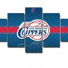 Large Framed Los Angeles Clippers Basketball Canvas Art Home Decor Five Piece