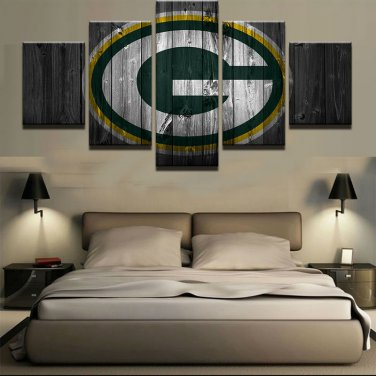 Large Framed Green Bay Packers Football Barn Wood Look Print