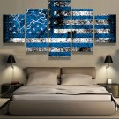 Large Framed Detroit Lions Football Flag Canvas Print Home Decor Wall Art