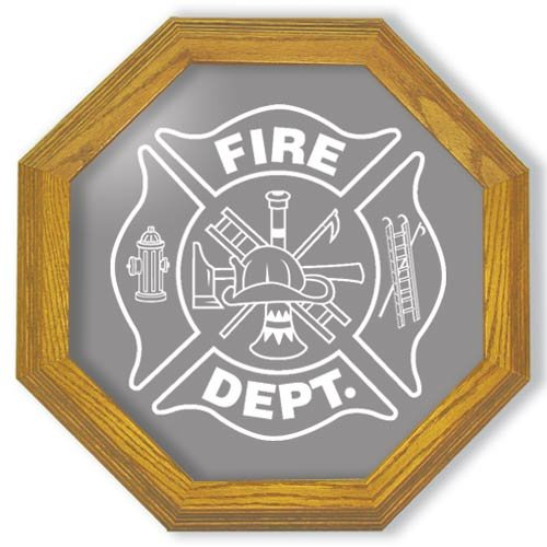 """13"""" Firefighter's Maltese Cross Etched Octagon Mirror"""