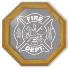 "13"" Firefighter's Maltese Cross Etched Octagon Mirror"