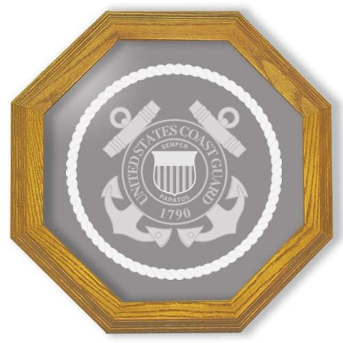 "20"" United States Coast Guard Emblem Etched Wall Mirror"