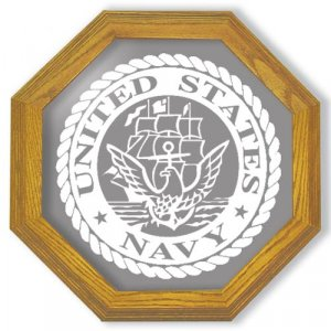 """20"""" United States Navy Emblem Etched Wall Mirror"""