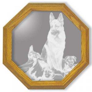 """13"""" """"Rookies"""" by Linda Picken German Shepard Police Dog Etched Wall Mirror"""