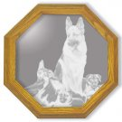 "20"" ""Rookies"" by Linda Picken Etched German Sherpard Police Dog Wall Mirror"