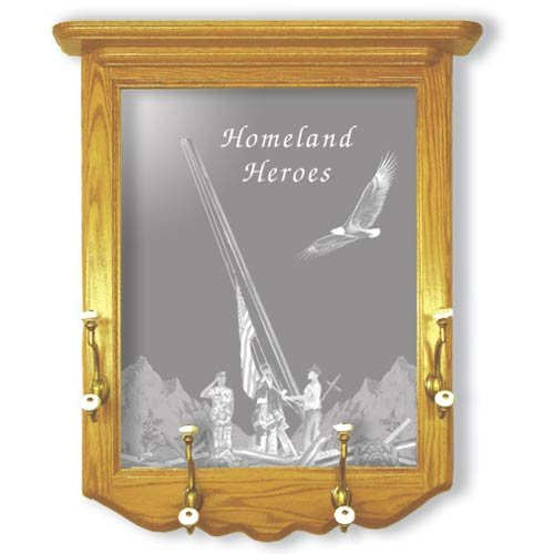 "22""x26"" Homeland Heroes Coat Rack and Etched Mirror"