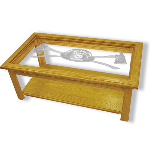 """39""""x22""""x15"""" tall Axe 343 Firefighter's Rectangular Coffee Table with Etched Glass"""