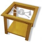"22""x22""x20"" tall Axe 343 Firefighter's Square End Table with Etched Glass"