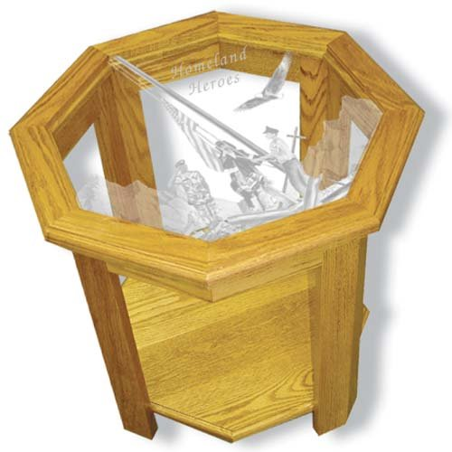 "22""x22""x20"" tall Homeland Heroes octagon End Table with Etched Glass"