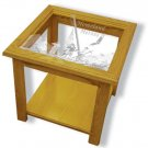 "22""x22""x20"" tall Homeland Heroes square End Table with Etched Glass"